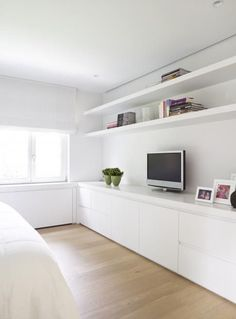 White built in units meuble living, bedroom shelving, tv in bedroom, small Home Bedroom, Modern Bedroom, Bedroom Decor, Bedroom With Tv, Ikea Bedroom Design, Small Bedrooms, Wall Decor, Built Ins, Interior Design Living Room