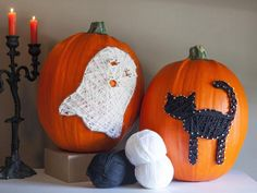 Easy String Art Pumpkins >> http://www.diynetwork.com/decorating/11-unusual-ways-to-decorate-a-halloween-pumpkin/pictures/index.html?i=1?soc=pinterest