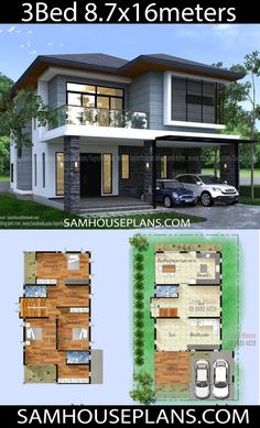 House Plans Idea 8 with 3 bedrooms - Sam House Plans 2 Storey House Design, Bungalow House Design, Small House Design, Modern House Design, Modern Zen House, House Layout Plans, House Layouts, Casa Loft, Model House Plan