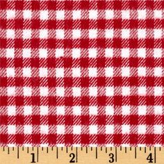 Marcus Primo Plaids Color Crush Flannel Gingham Check Red from @fabricdotcom  From Marcus Brothers, this double-napped, medium weight (7.2oz), yarn-dyed flannel features a classic gingham design. Perfect for quilting, apparel and home decor accents. Colors include red and white.