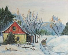 Vintage Oil Painting  Winter in the Country 1  by LastCentury, $72.00