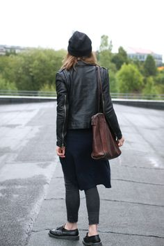 Amelie from Amazed in the AW13 Muubaa Carmona Leather Biker in Black
