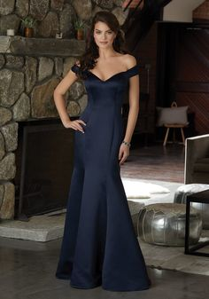 Satin Bridesmaid Dress Featuring an Off The Shoulder Neckline