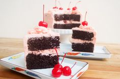 Cherry buttercream flavored the natural way, paired with rich Devil's Food cake