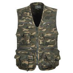 ae807cb8e327ea Tactical Vest L-4Xl Men Fishing Vest Sleeveless Fishing Jacket Multi-Pockets