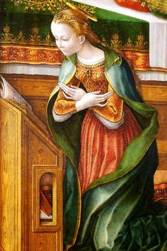 Carlo Crivelli. Annunciation with Saint Emidius. 1486. detail