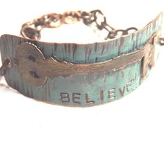 Copper and Brass Antiqued Key Believe Bracelet by JewelrybyMignon, $56.00 #leather backed #metalsmith #art #jewelry