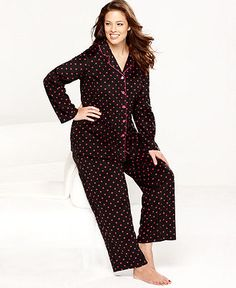 Jenni Plus Size Pajamas, Thermal Top and Printed Pajama Pants Set ...
