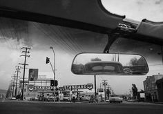 Dennis Hopper photography, black and white photo, retro, vintage, 50s, 1950s, rear view mirror, car culture, auto, Los Angeles, California, CA, Standard oil and gas