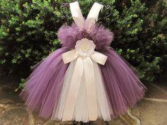 AUBERGINE. EGGPLANT and IVORY. Tutu Dress. Birthday by ElsaSieron