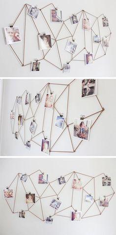 Totalement FAN de ce porte photos hyper facile à faire et drôlement malin http://www.thecaldwellproject.com/blog/diy-geometric-photo-display