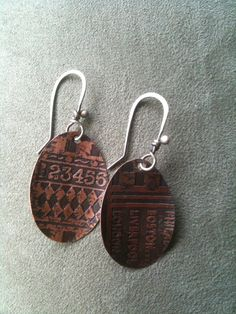 Etched Copper Oval Earrings via Etsy