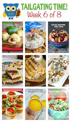 Tailgating Food Ideas ~ Tailgating Time, Week 6 - - It's football time and time for some delicious and impressive tailgating recipes! These are sure to make you the hit of the party and their are lots of ideas! Tailgating Recipes, Tailgate Food, Easy Appetizer Recipes, Appetizers, Dessert Recipes, Desserts, Great Recipes, Favorite Recipes, Amazing Recipes
