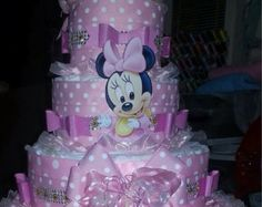 Elegant Diaper Cake/ Minnie Mouse Diaper Cake/ Hot Pink and Black Diaper Cake/ Girl Baby Shower/ Baby Shower Gift or Centerpiece/ MinnieCake Torta Baby Shower, Baby Shower Niño, Shower Bebe, Baby Shower Diapers, Baby Showers, Shower Party, Baby Shower Crafts, Shower Gifts, Bolo Minnie