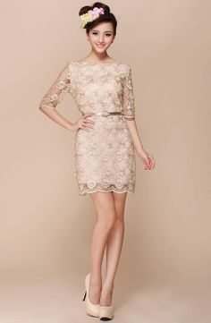 elegant cute 3/4 sleeve lace cocktail party mini dress with belt M/L gold