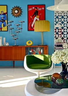 Fabulous Mid-Century Modern Interior with Space Age Furniture. Love the colours, furniture and posters!