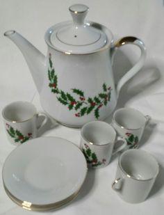 Vintage Christmas Holly Tea Set Gold-trimmed Porcelain by Mogi NIB