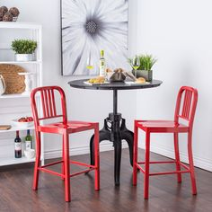 These charming red counter stools stand out in any space. The metal stools have foot glides that prevent damage to your floor, and the simple design is sure to match any bar or table you own. The bold color is perfect for an accent point in the room.
