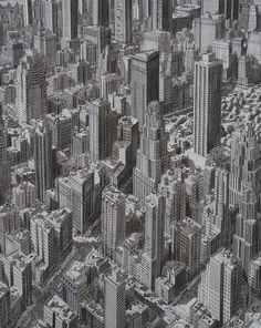 Estos increíbles dibujos de Stefan Bleekrode recrean detallados paisajes urbanos,Manhattan, Nueva York. Imagen © Stefan Bleekrode