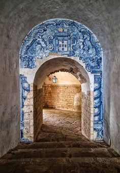 The Blue & White Tiles of Portugal~~~Archway in Setubal Portugal