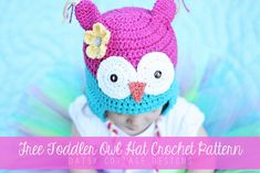 Free Owl Hat Crochet Pattern {Toddler Size} #freecrochetpattern #owl #crochet #daisycottagedesigns