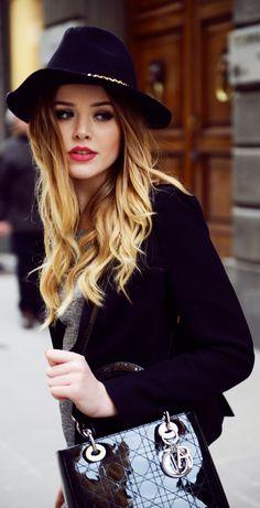 wavy hair & hat