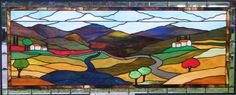 Tuscan Terra Stained Glass Window - Photo taken outside with no sun