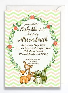 woodland creatures baby shower invitations set of 10