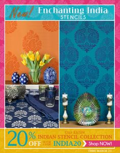 We have added several new enchanting India stencils to our collection! To further allure you, for this weekend, the entire collection is 20% with our INDIA20 promo code! March 21 - March 23