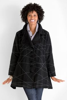 X Jacket by Cynthia Ashby. Bold white lines are hand stitched across this dramatic jacket like drawings in an artist;s sketchbook. Cut from a sumptuous, heavy linen, it has a sophisticated A-line silhouette. Overview: Long sleeves Car coat length Oversized lapel can be worn open or buttoned Front pockets Front button placket Artist-made in the U.S.A. Fabric 6), S (8;10), M (12;14), L (16;18), or XL (20;22) Garment measurements: Sleeve length: XS (28.6;), S (29.8;), M (31.1;), L (32.3;), XL…