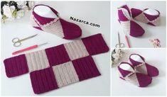 acik-orgu-tigla-bulmacali-patik-yapilisi Diy Crochet Slippers, Crochet Shoes, Crochet Clothes, Crochet Crocodile Stitch, Crochet Stitches, Knitting Yarn, Baby Knitting, Knitting Patterns Free, Crochet Patterns