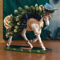 Rio Carnevale Horse of a Different Color, gorgeous! Painted Horses, Sculptures, Lion Sculpture, Rocking Horses, Pony Horse, Painted Pony, Breyer Horses, Animal Decor, Peacocks