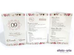 Tótens de mesa com estampa floral para casamento. Orçamentos e pedidos pelo e-mail contato@efeitoearte.com.br