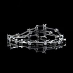 "VVS1 Diamond Platinum Clad 3.80 ct tw 7 1/4"" Bracelet  W393 #Affinityhomeshopping #Link"