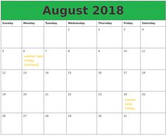 august 2018 calendar printable templates holidays august 2018 calendar india with holidays august 2018 calendar usa with holidays august 2018 holidays