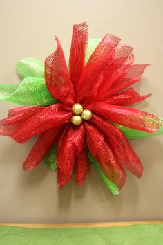 mesh poinsettia wreath