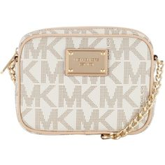 MICHAEL Michael Kors Jet Set Across Body Handbag , Vanilla ($170) ❤ liked on Polyvore