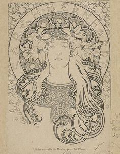 Art Nouveau Alphone Mucha line art