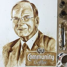 Another great project : Tribute to Henry Norman Saurage lll, Grandson of Community Coffee founder. Community coffee: established in 1919 Louisiana USA. @communitycoffee #communitycoffee #coffee #coffeeart #coffeepainting #coffeeroasting #mariaaaristidou #ma_aris