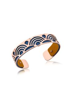 Les Georgettes Small Poisson Rose Gold Plated Bracelet w//Navy Blue and Beige Reversible Leather Strap