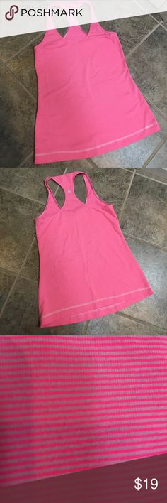 Lululemon Racerback Tank Great condition, only wore a few times. Classic Racerback tank in a lovely pink stripe- perfect for summer! lululemon athletica Tops Tank Tops
