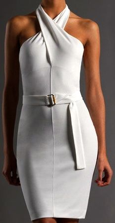 Love the Gucci white summer halter dress                              …