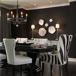 dining rooms - glossy black dining table black walls white mirrored buffet white nailhead trim side chairs zebra captain dining chairs Global Views Carnation Wall Flower Decorative Accent in Pearl White Global Views Carnation Platter/Bowl Decorative Accent in Pearl White