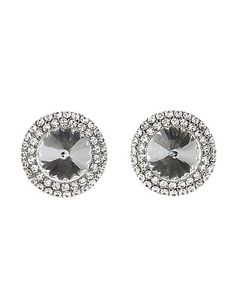 Oversized Rhinestone Stud Earrings: Charlotte Russe #earrings