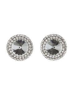Oversized Rhinestone Stud Earrings: Charlotte Russe #earrings