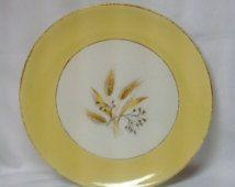 Vintage Semi Vitreous Dinnerware Autumn Gold Yellow Wheat Gold Trim Plate Dish