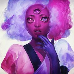 someone entirely new  cotton candy garnet done in the stream. thank you for coming!