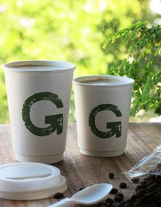 These double walled coffee cups are locally made from plant based raw materials only. They are compostable and can be printed with your own brand.