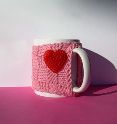 Knitted Mug Cozy: Pink Checkered with Red Heart by KatysKnitKnacks, $7.00