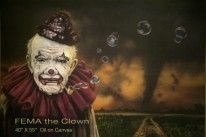 FEMA the Clown - one of the Lance Rodgers paintings in the Raymond James collection -